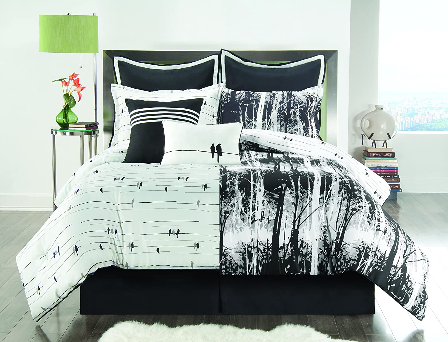 amazoncom sunset and vine woodland 6piece xl twin comforter set black white home u0026 kitchen