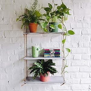 Asliny Rustic Floating Corner Shelves Wall Mounted, 3 Tier Wood Storage Shelf Handmade (Rustic White)