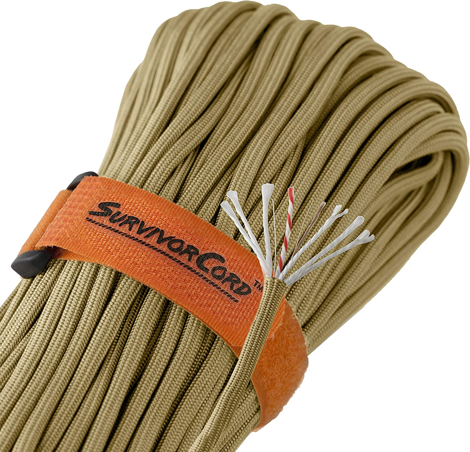 100/% Nylon. Fire-Starter Tinder Military Type III 550 Parachute Cord MIL-C-5040H Titan 620 LB SurvivorCord Paracord and Utility Wire w//Free Ebooks   Patented U.S with Integrated Fishing Line