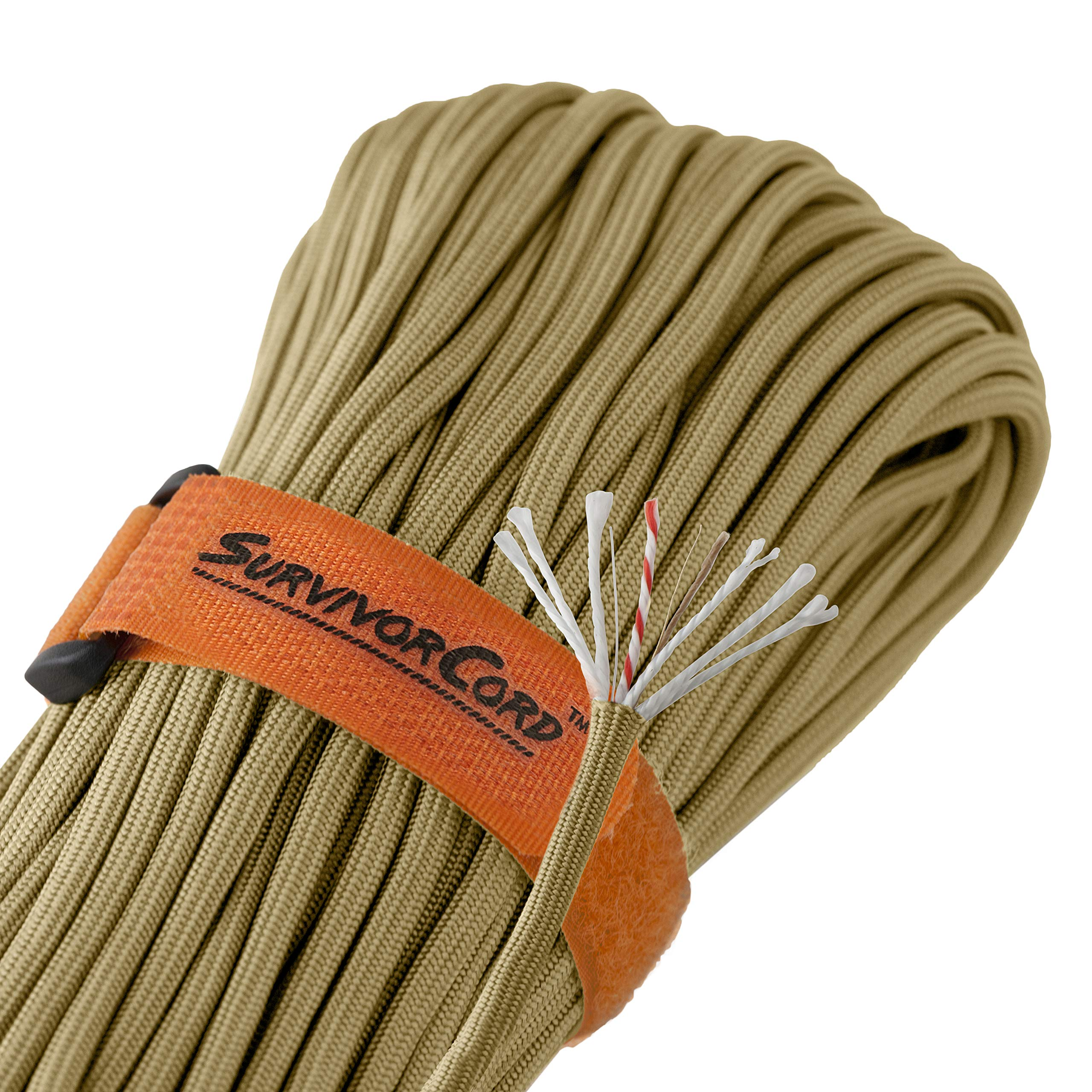 Titan SurvivorCord | Coyote Brown | 103 Feet | Patented Military Type III 550 Paracord/Parachute Cord (3/16'' Diameter) with Integrated Fishing Line, Fire-Starter, and Utility Wire.