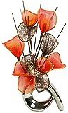 Flourish 792817QH1argento vaso con fiori artificiali in vaso, fiori finti in nylon arancione e marrone, ornamenti, piccolo regalo, accessori per la casa, 32cm