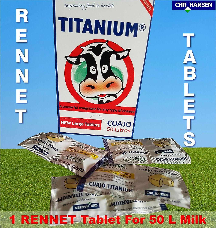 3 pastillas de cuajo Titanium®, para cualquier tipo de queso, 3 pastillas para 150 L de leche.: Amazon.es: Hogar