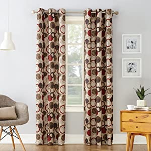 "No. 918 Celestial Geometric Print Grommet Curtain Panel, 48"" x 84"", Paprika Red"