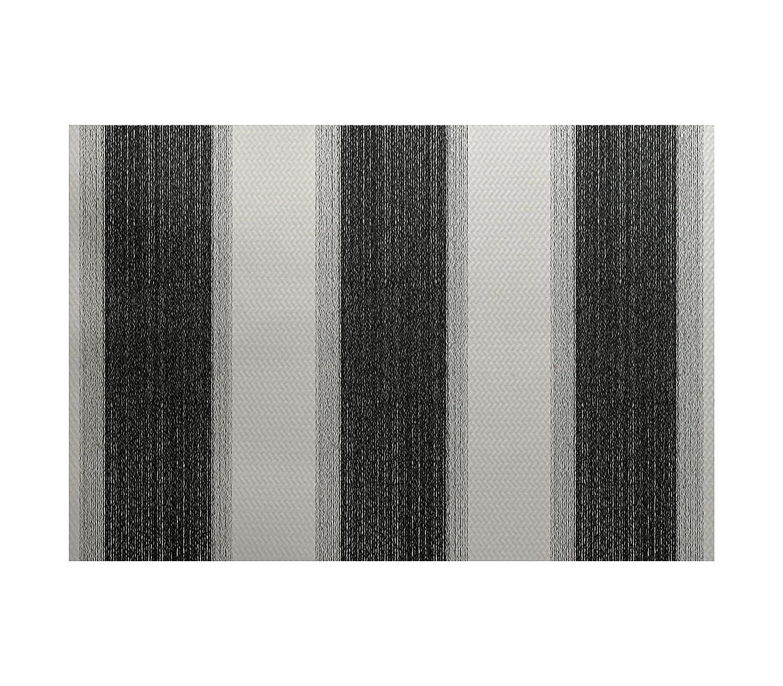 Black 3 x 5 E by design RSN376BK4IV3-35 Striate Stripe Print Rug
