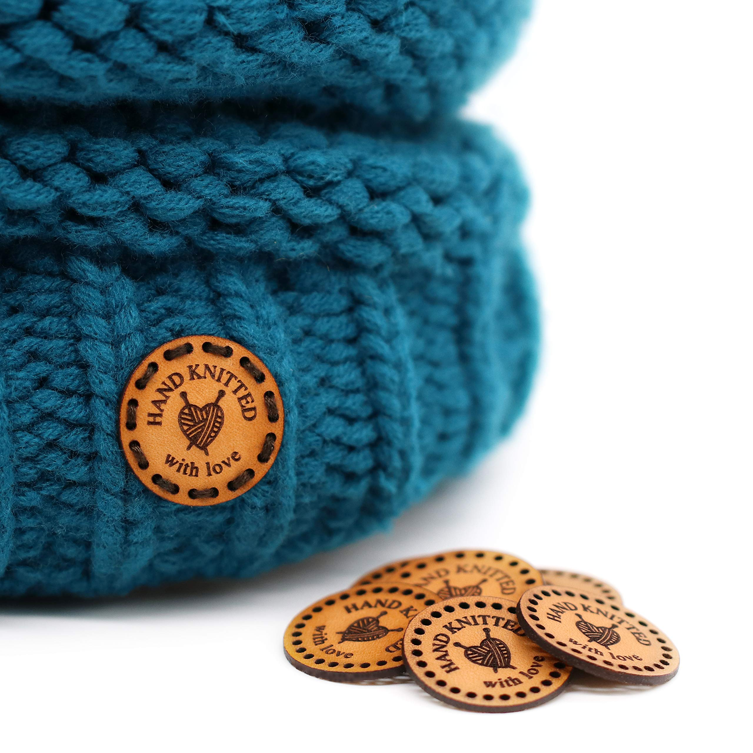 Round Handmade Leather Labels RO01''Hand Knitted with Love'' | 15 pcs | Exclusive Engraved Genuine Italian Leather Tags