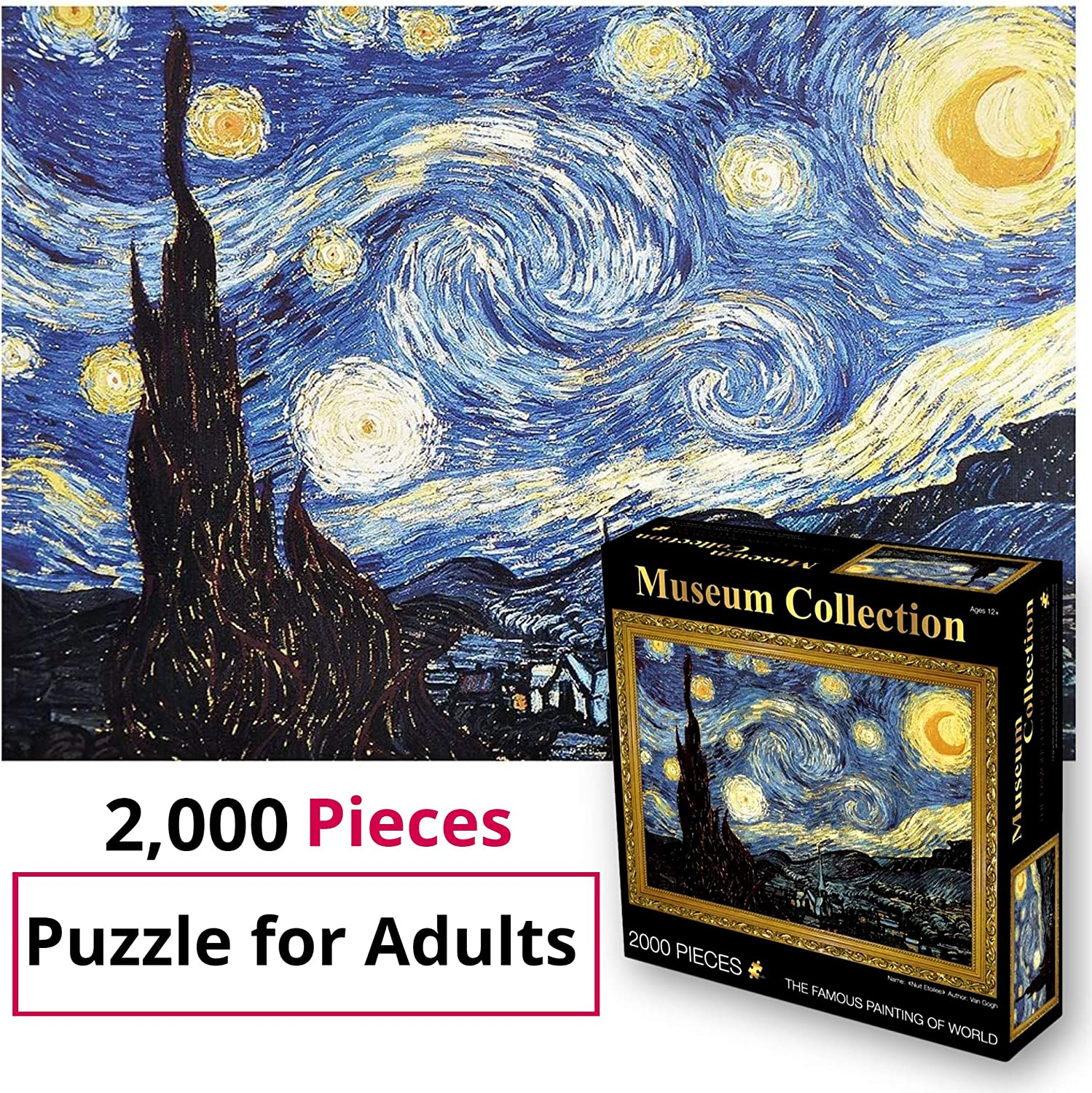 imusicat Jigsaw Puzzles for Adults 2000 Piece - Non-Toxic, Starry Night Jigsaw Van Gogh Colorful Oil Painting, for Adult, Kids, Children, Boy, Teens, Grandparents, Senior Adults, Elderly Adults