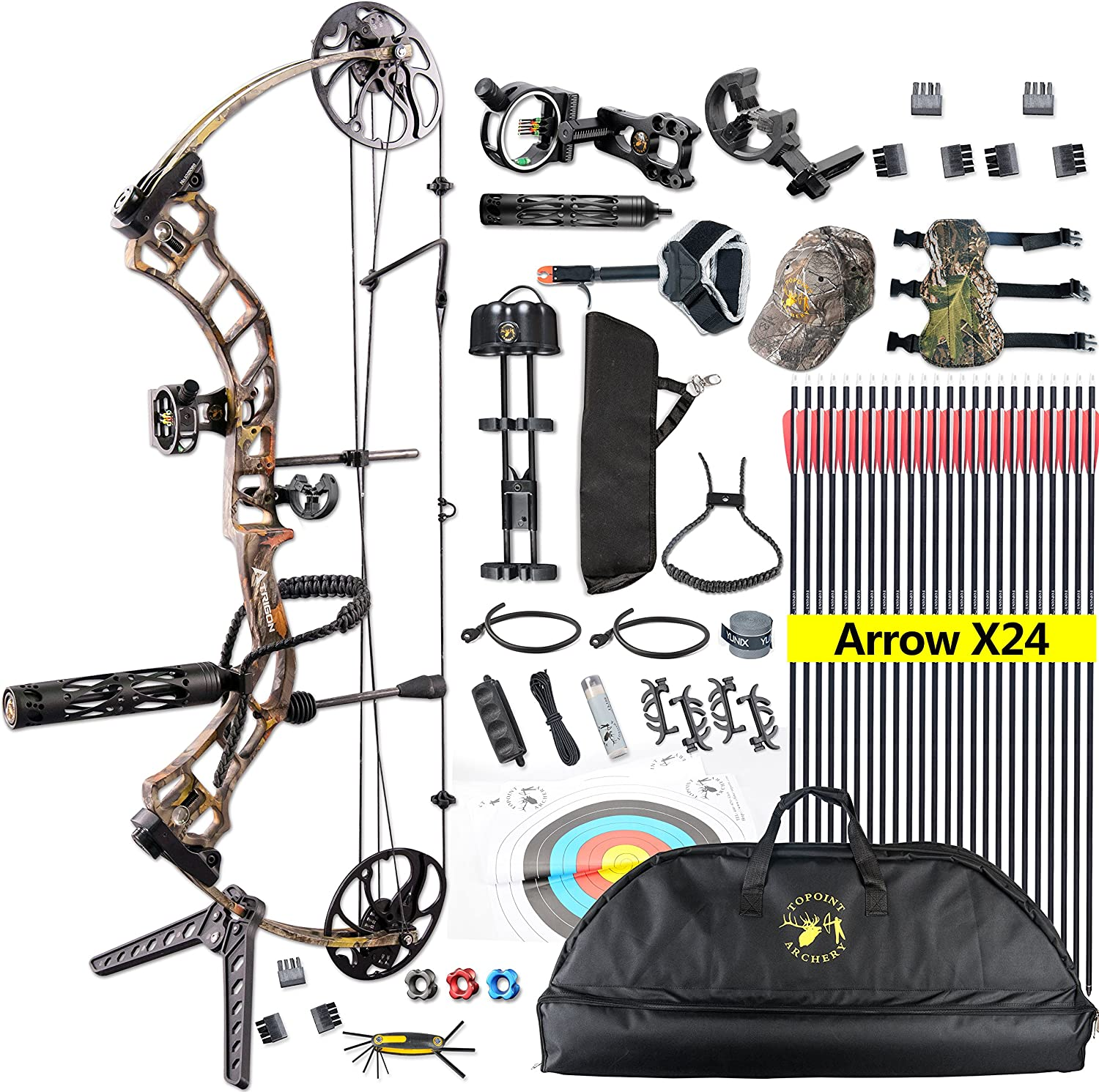 TOPOINT Ship from USA Archery Trigon Compound Bow Package,CNC Milling Bow Riser,USA Gordon Composites Limb,BCY String,19 -30 Draw Length,19-70Lbs Draw Weight,IBO 320fps