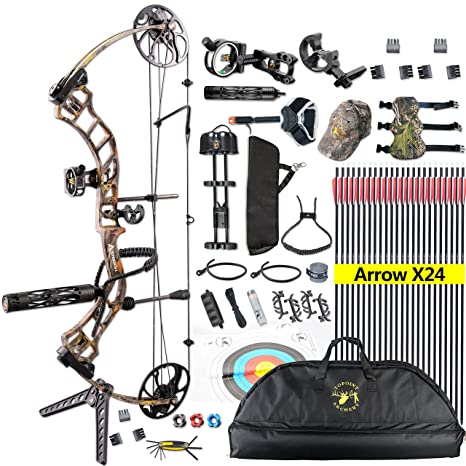 """Review Topoint Ship From USA Warehouse, Archery Trigon Compound Bow Full Package,CNC Milling Bow Riser,USA Gordon Composites Limb,BCY String,19""""-30"""" draw length,19-70Lbs draw weight,ibo 320fps"""