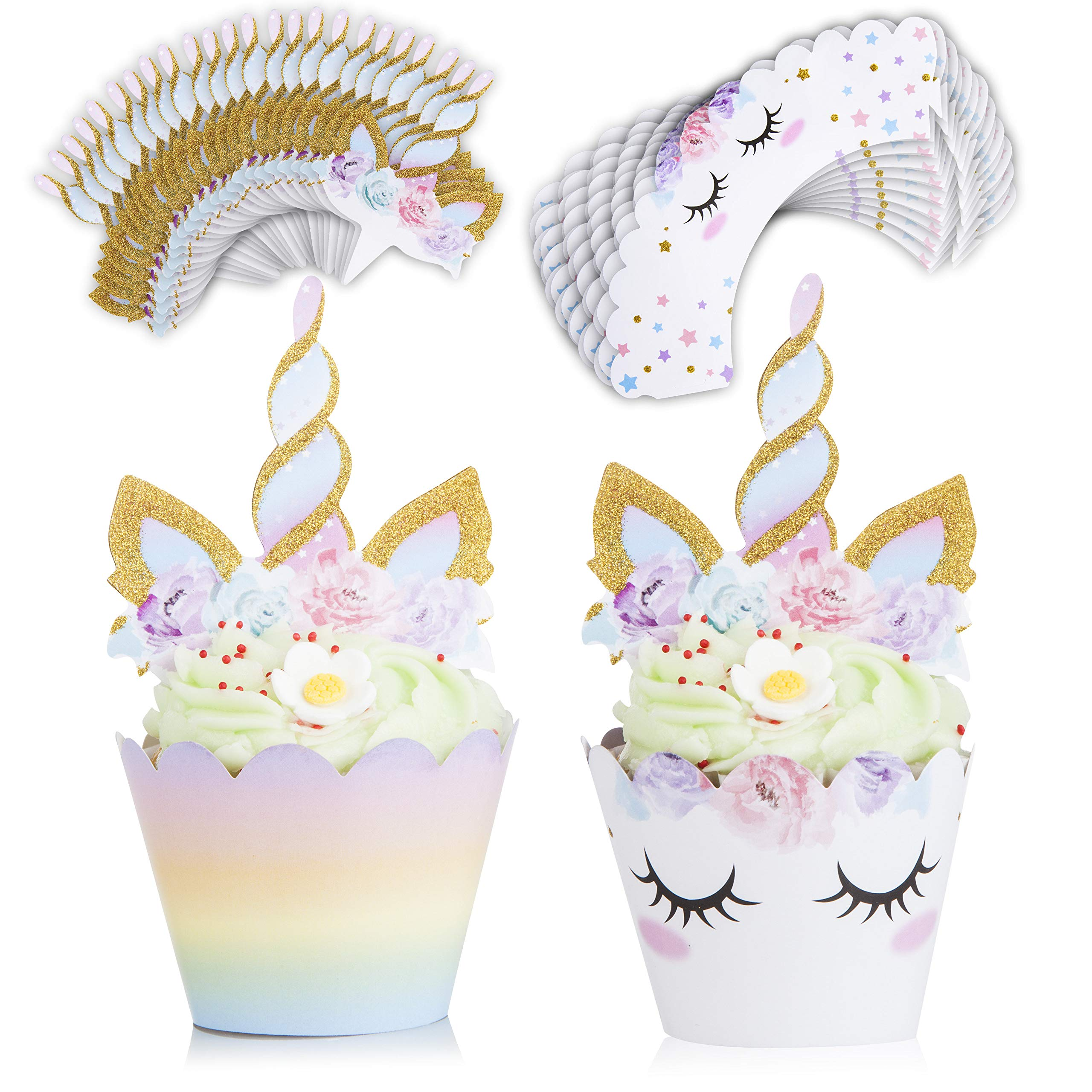 Unicorn Cake Topper and Cupcake Toppers & Wrappers (24) Unicorn Party Supplies with Eyelashes, Unicorns Horn, Ears, Cake Decorations Kit, Tissue Flowers, Balloon Set - Perfect for Birthday by Ross & Chris (Image #2)