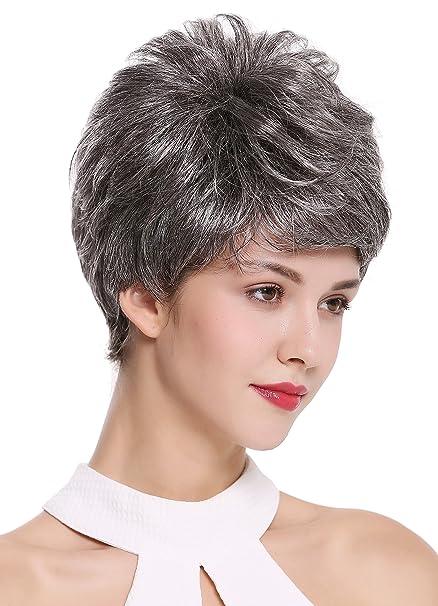 WIG ME UP ® - DW2461-44 Parrucca Donna Corta Cotonata Voluminosa Grigio  Grigio scuro Mèches Brizzolata  Amazon.it  Bellezza 41015da8ec12