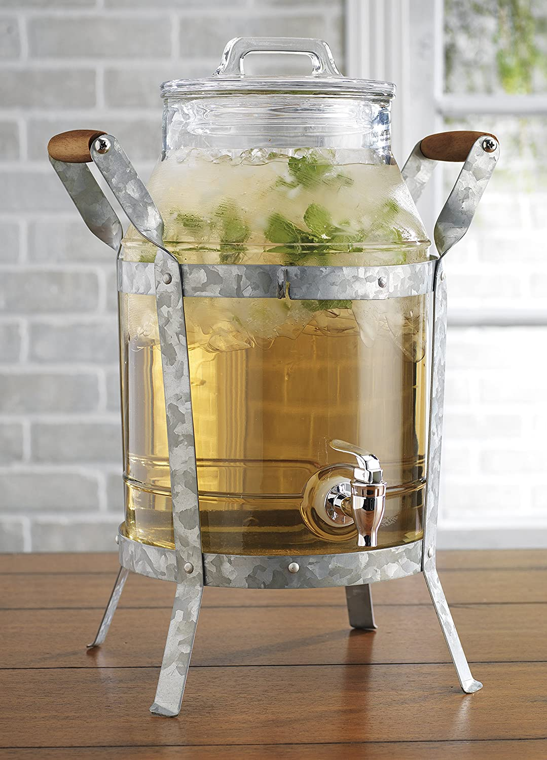 Classic Home Drink Dispenser Durable Glass with Galvanized Stand 2 Gallon And Spigot HC 3667