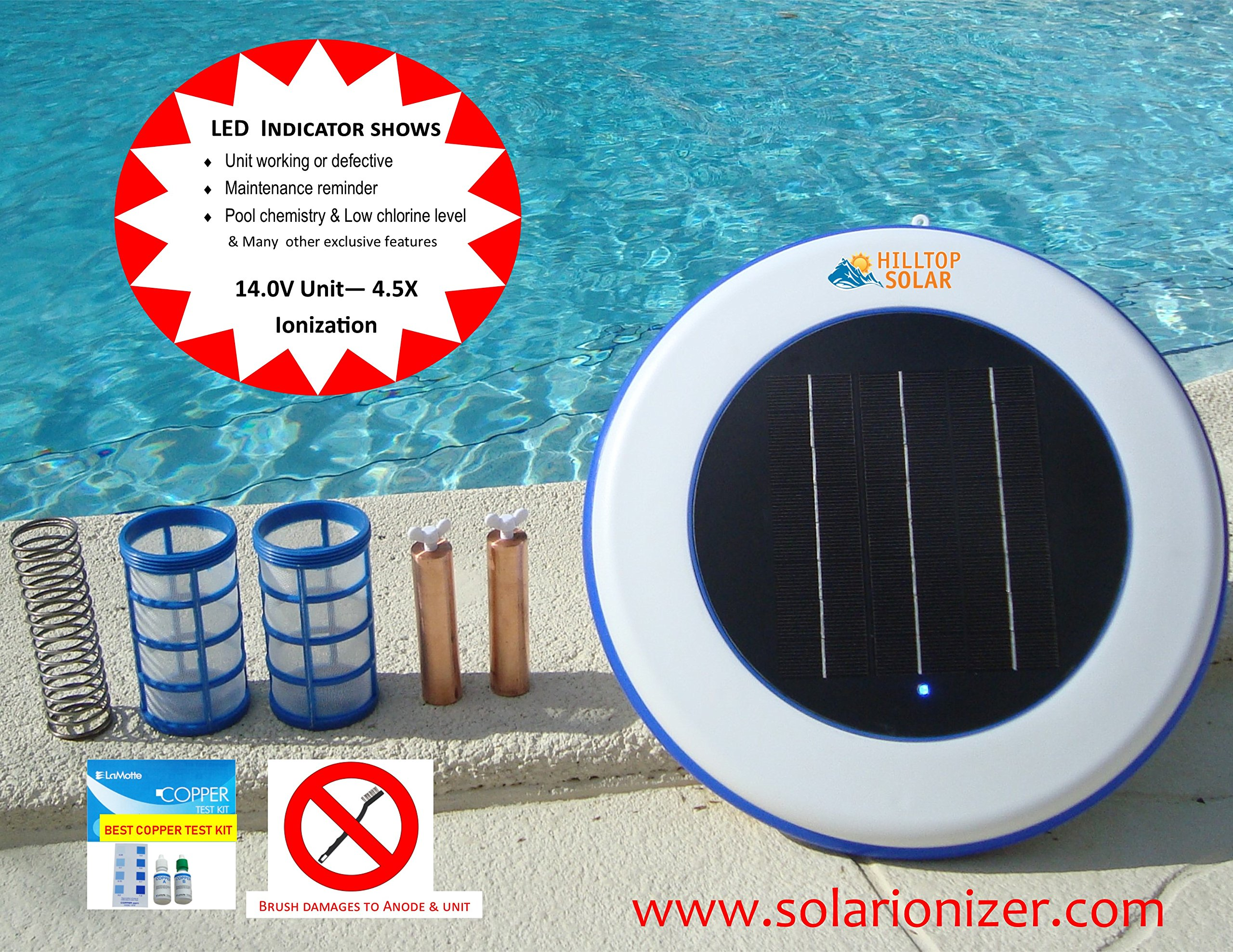 Solar Swimming Pool Ionizer (14.0V - 4.5X Ionization power) with LED On/Off Indicator - 2-Copper Anodes/Baskets/Wingscrews -Effective upto 40,000 gallons - NO SALES TAX