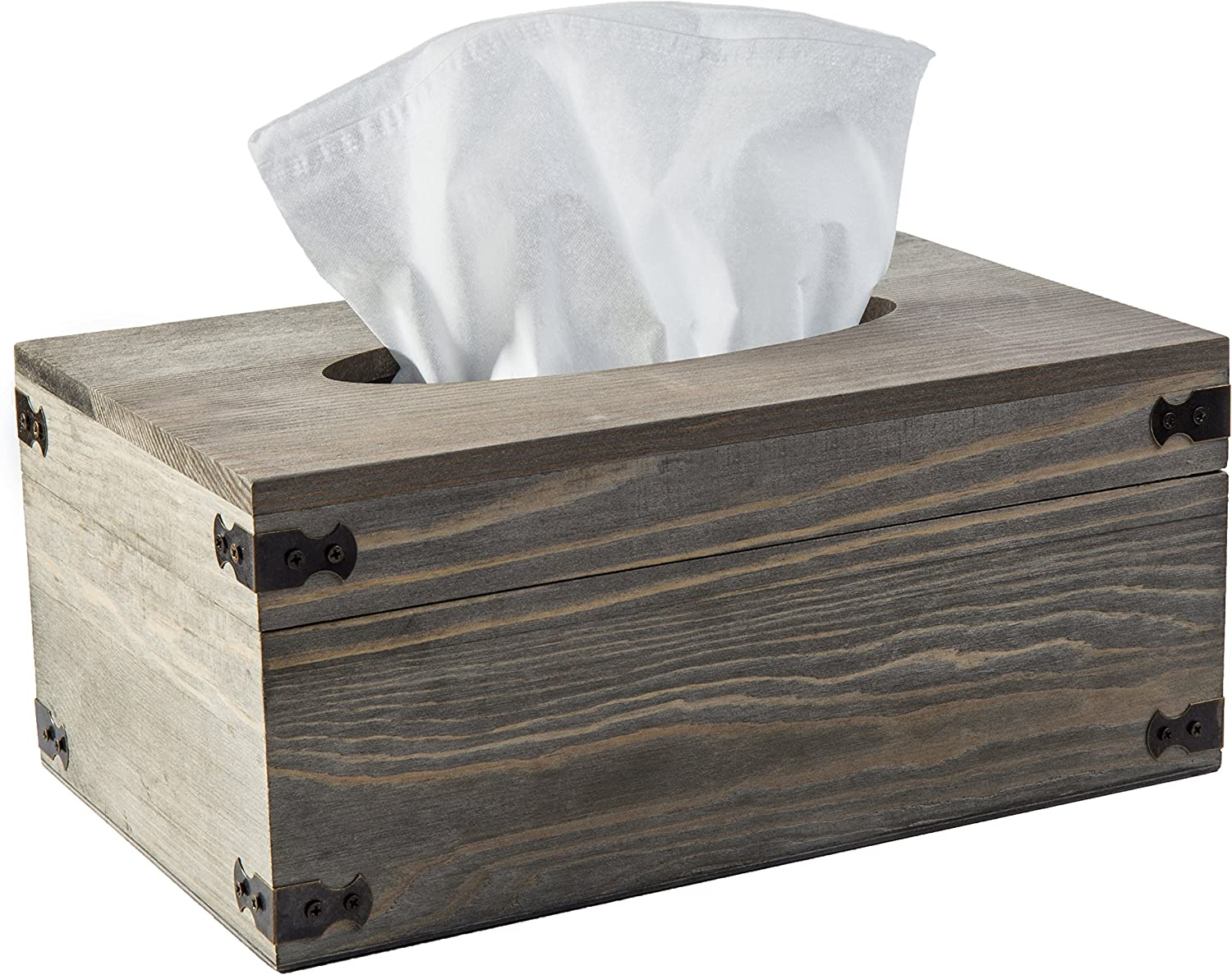 MyGift Distressed Gray Wood Rectangular Facial Tissue Box Holder with Hinged Lid