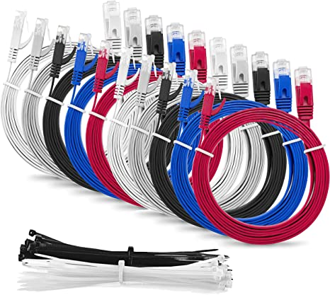 Cable Ties Black CAT6 Snagless Network Ethernet Patch Cable 75 FT