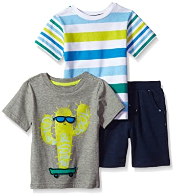 Amazon Com Cherokee Toddler Boys 3 Piece Tee And Short Set Clothing