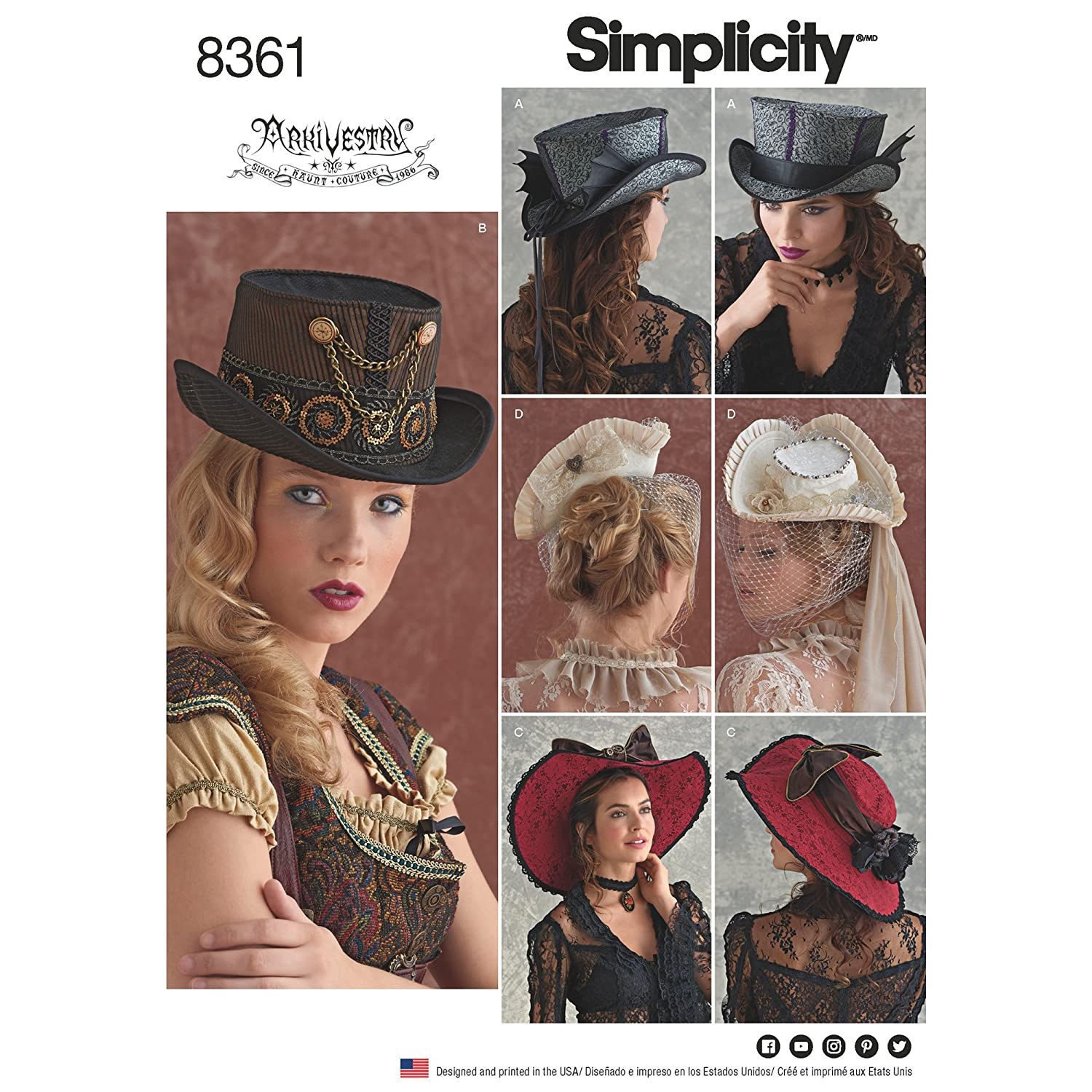 M Paper White 22 x 15 x 1 cm 23 L 22 Simplicity Pattern 8361 Hats in Three Sizes: S 21