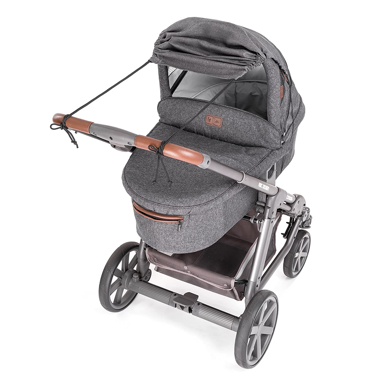 Parasol ajustable con protecci/ón UV 50+ capazos y sillas de paseo Zamboo Toldo DELUXE // Protecci/ón solar universal para cochecitos Gris