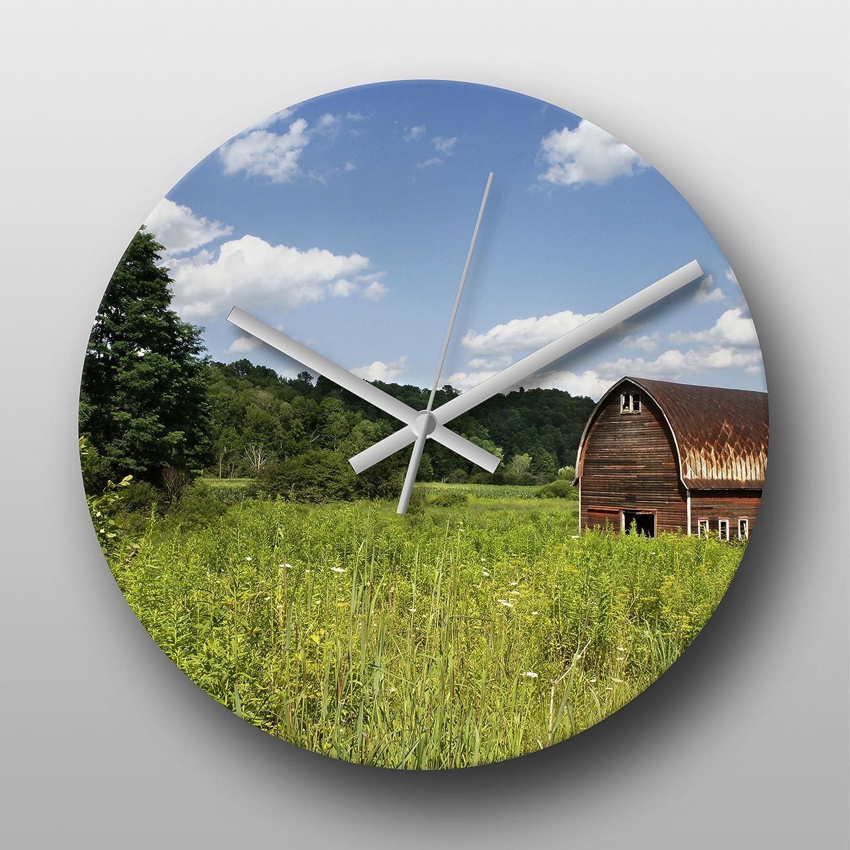 Reloj de pared en una caseta de campo - grande impreso Circular reloj de cuarzo, Non headphonemate yogabox manos, regalo Ideal, único del arte, ...