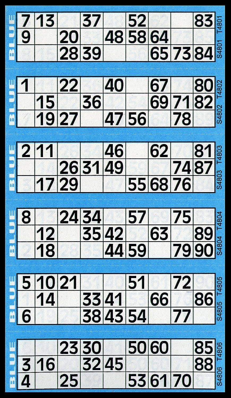 Bleu 600Tickets de bingo-Bloc de 6à vue Flyers Bingo House