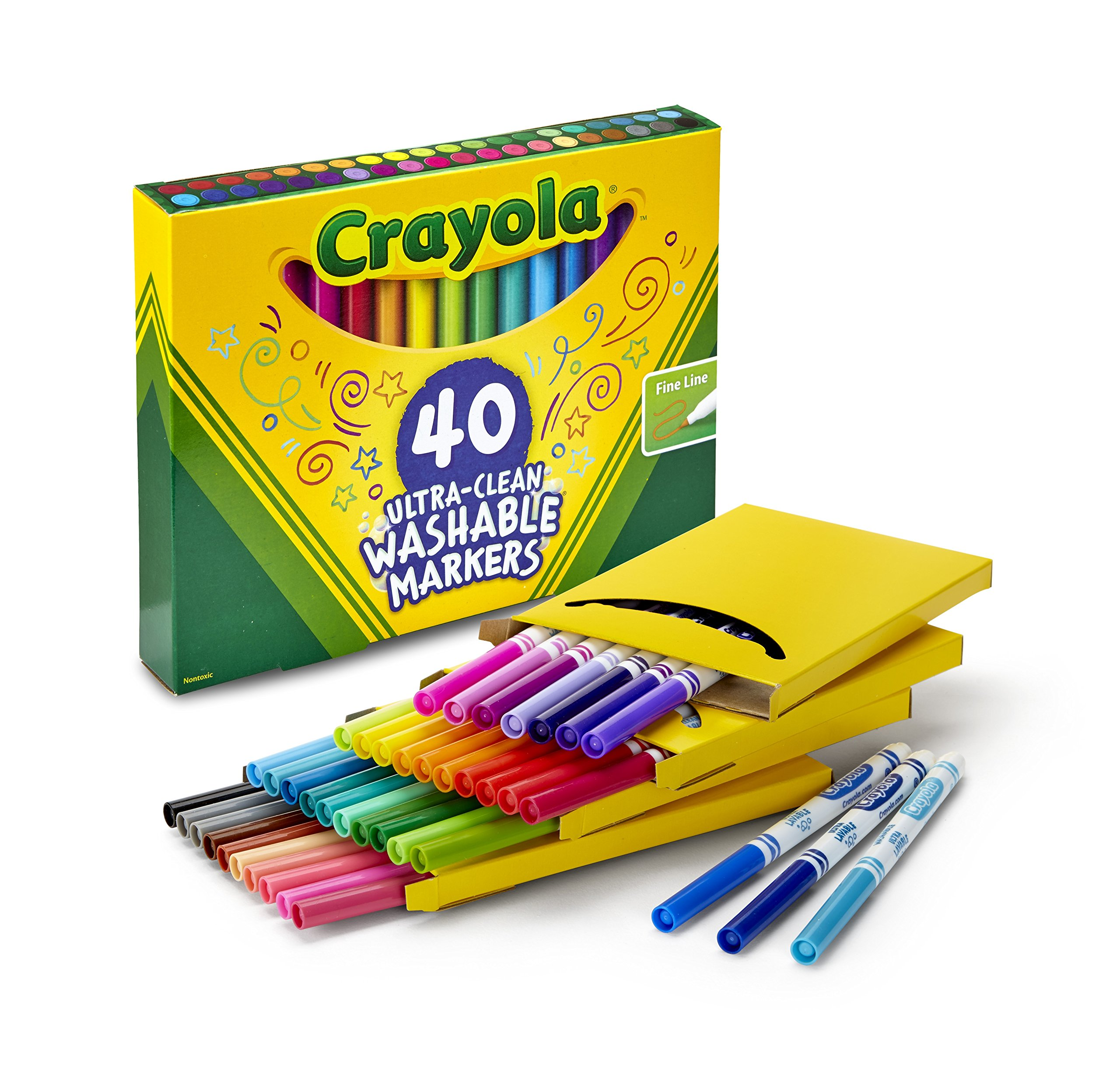Crayola Ultra-Clean Washable Markers, Fine Line, 40 Count by Crayola