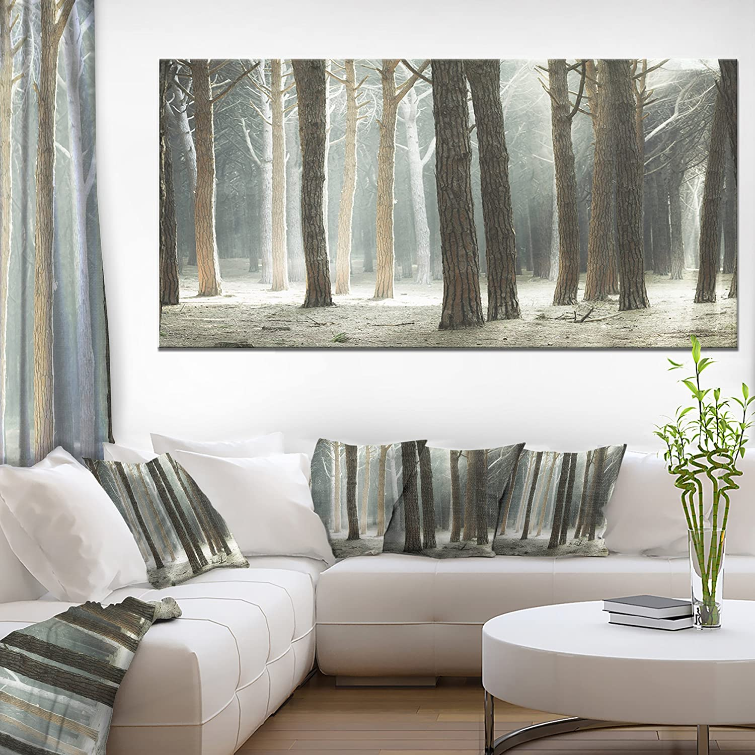 Design Art 1 Piece Maritime Pine Tree Forest With Rays Oversized Forest Canvas Art 60x28 Amazon In Home Kitchen