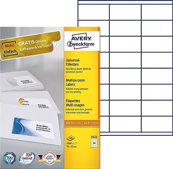 Avery Zweckform 3422 Adressetiketten (A4, Papier matt, 2,400 ...
