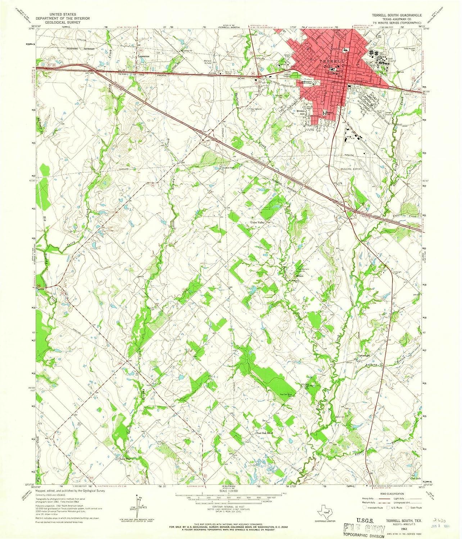 Topographic Map Washington Dc.Amazon Com Texas Maps 1963 Terrell Tx Usgs Historical