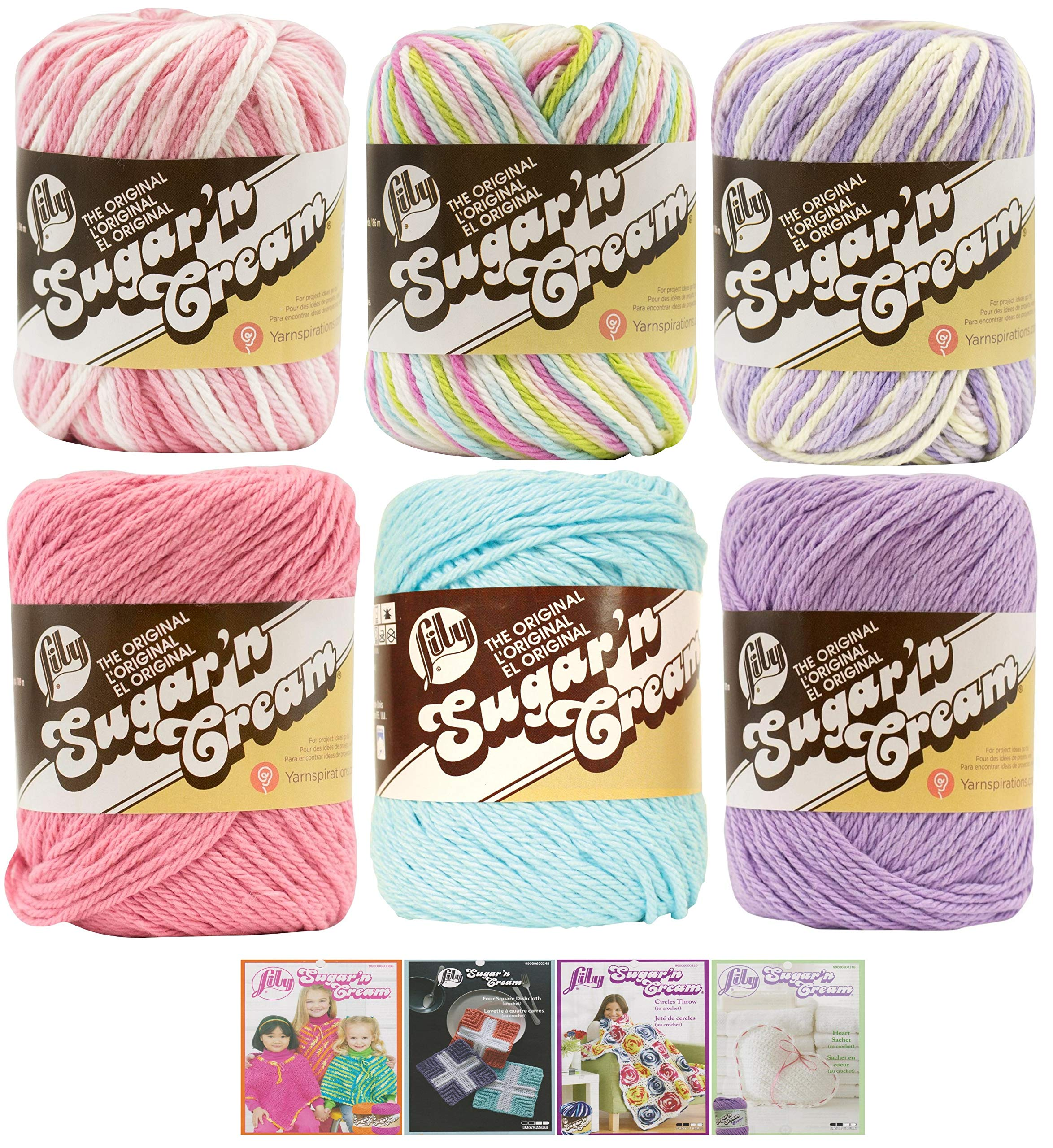 Variety Assortment Lily Sugar'n Cream Yarn 100 Percent Cotton Solids and Ombres (6-Pack) Medium Number 4 Worsted Bundle with 4 Patterns (Asst AA)