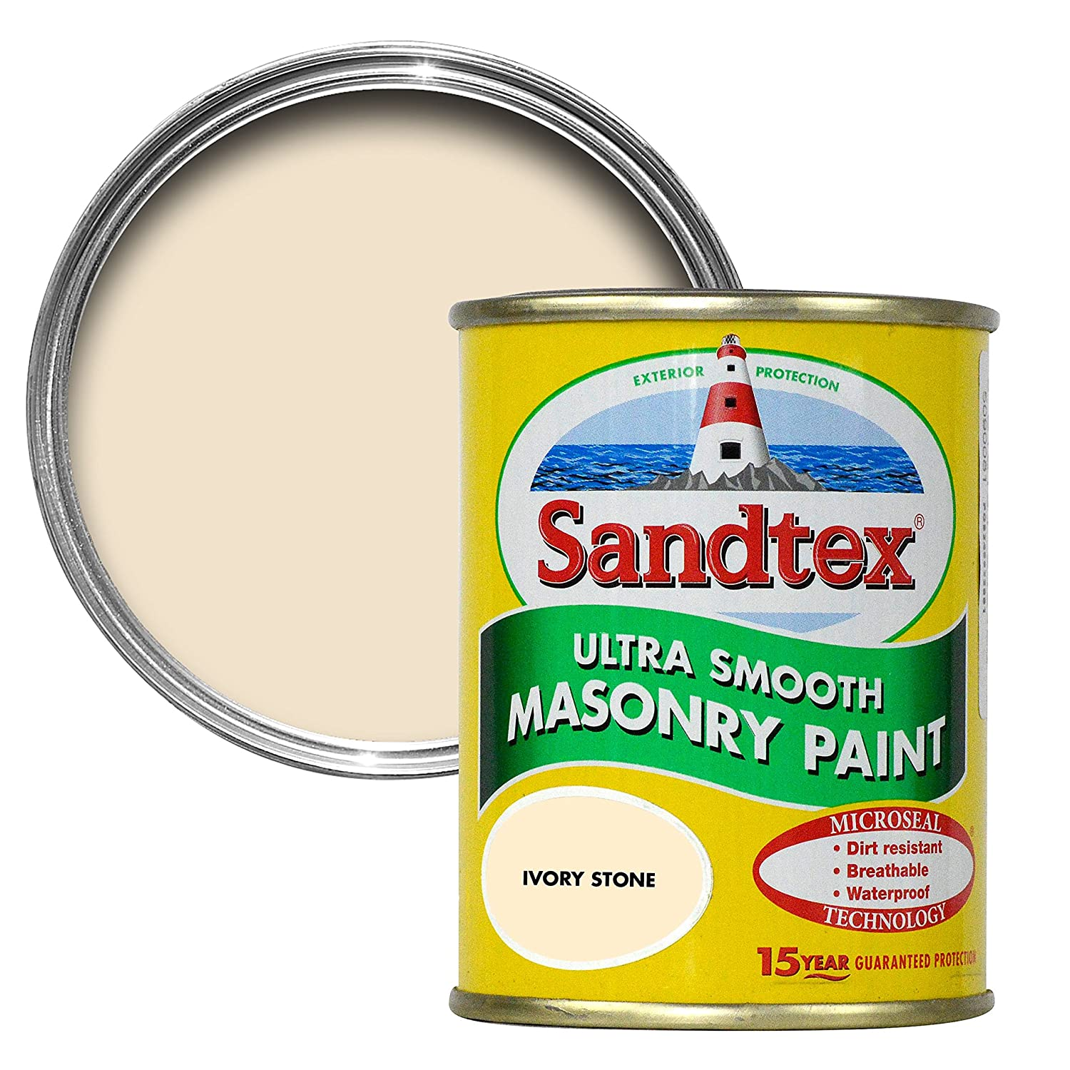 Sandtex 150millilitre Tester Pot Ivory Stone Ultra Smooth Masonry Paint Crown Paints Limited