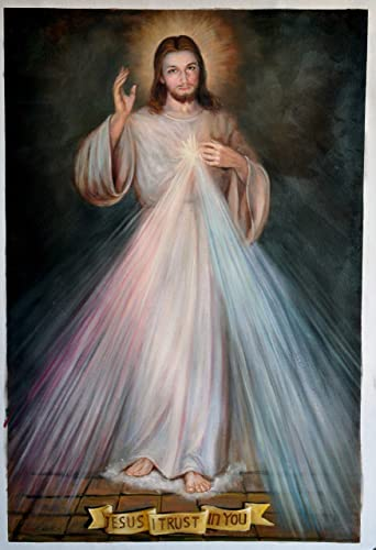 Jingzhi Handmade Religious Oil Painting Reproduction on Canvas Divine Mercy