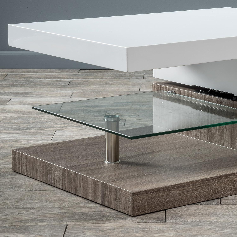 Amazon Emerson Rectangular Mod Swivel Coffee Table w Glass