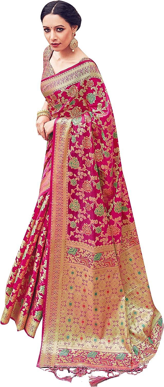 Sarees for Women Banarasi Art Silk Woven Saree || Ethnic Indian Wedding Gift Sari with Unstitched Blouse
