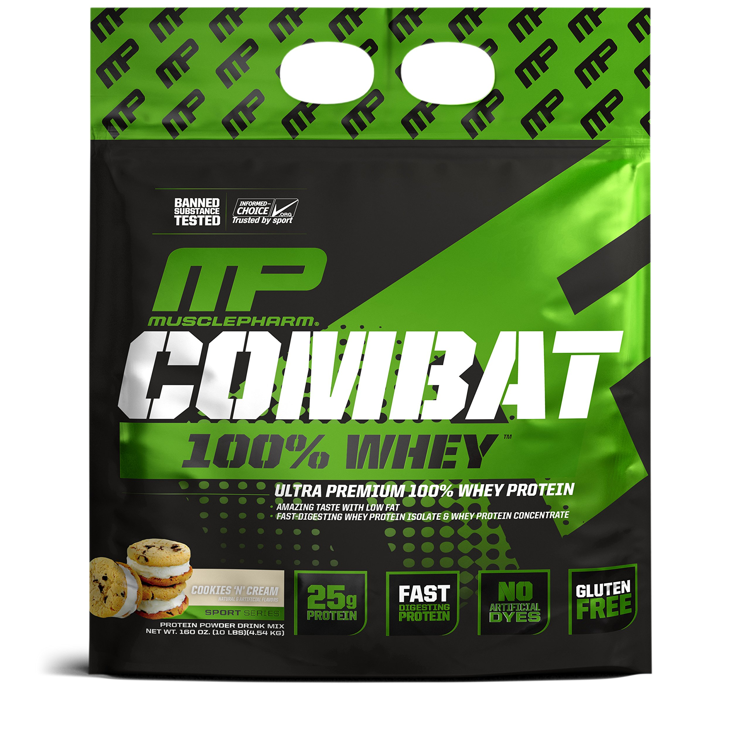 Muscle Pharm Combat 100% Whey Cookies 'n Cream, 10lbs, 2 Pound by Muscle Pharm (Image #1)