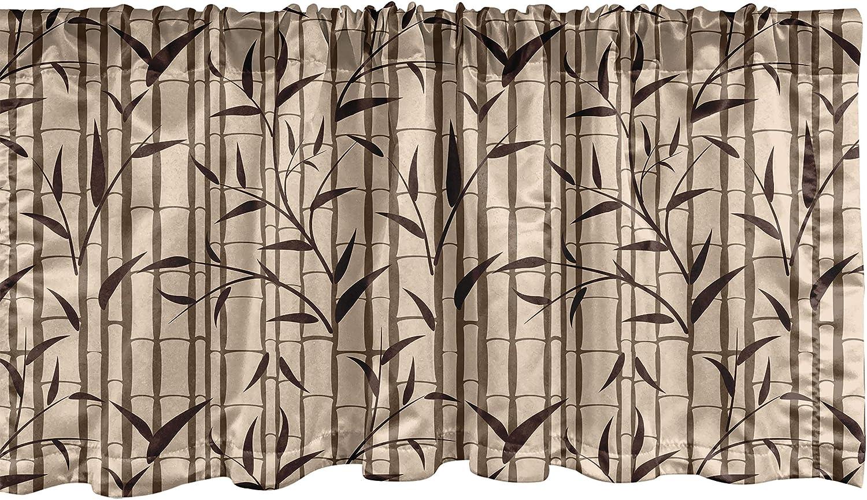 Lunarable Bamboo Window Valance, Fresh Eastern Garden Foliage Eco Summer Season in Japan Theme, Curtain Valance for Kitchen Bedroom Decor with Rod Pocket, 54
