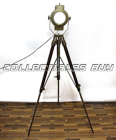 Superb Big Vintage Floor Lamp Brass Polished Wooden Tripod Amazon In Wiring 101 Tzicihahutechinfo