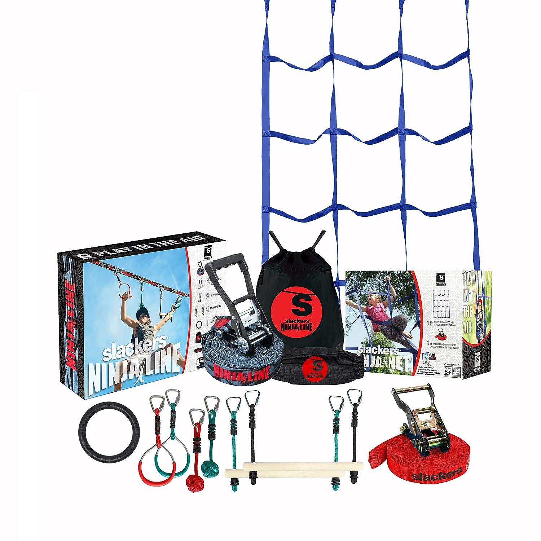 Slackers Ninja Climbing Line with Cargo Net (30 & 50 Varieties)   Ninjaline   Slackline Obstacle Course   Slackersline   Ninja Warrior Kit (50)