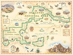 Badlands National Park Map Wall Art Poster - Authentic Hand Drawn Maps in Old World, Antique Style - Art Deco - Lithographic Print