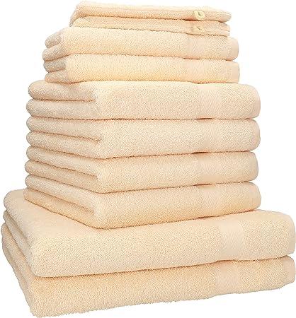 Betz Set di 10 Asciugamani 100/% Cotone 2 Asciugamani da Doccia 4 Asciugamani 2 Asciugamani per Ospiti 2 Guanti da Bagno Colore Beige