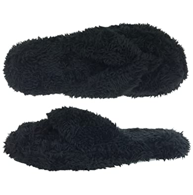 Amazon.com | Dearfoams Fuzzy Terry Black Thong Slippers | Slippers