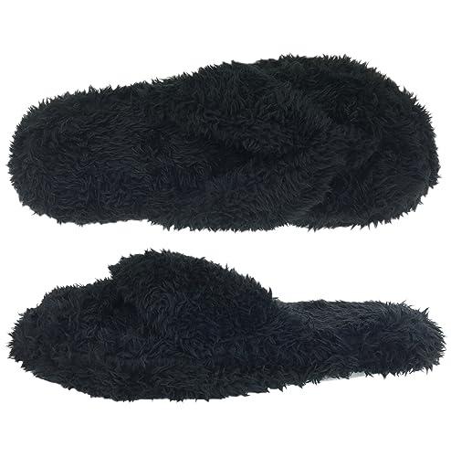 388f024145d Dearfoams Fuzzy Terry Black Thong Slippers (S (5-6))