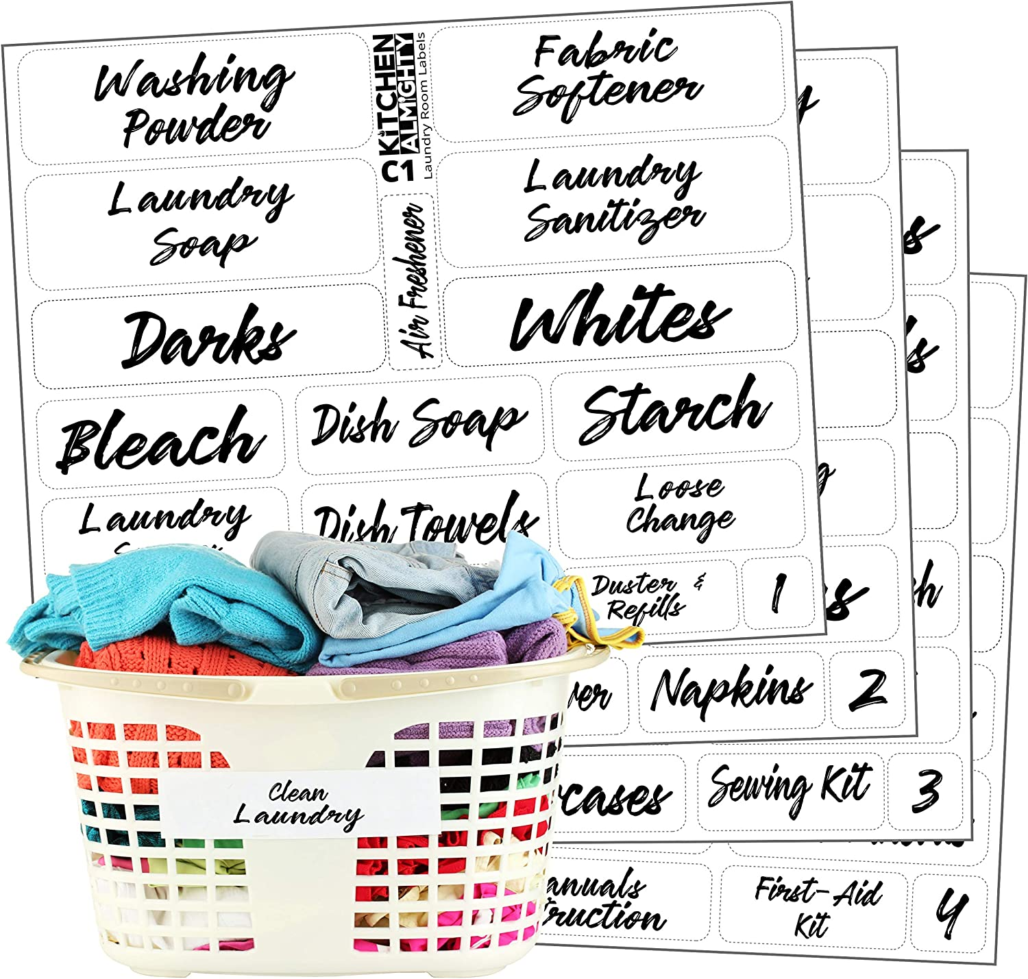 Laundry Room Organization Clear Labels: 85 Classy Gloss Preprinted Water Resistant Label Set to Organize Laundry w/Extra Write-on Stickers