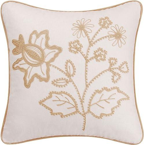 C F Home Harlow Chain Stitch Pillow 18 x 18 Tan