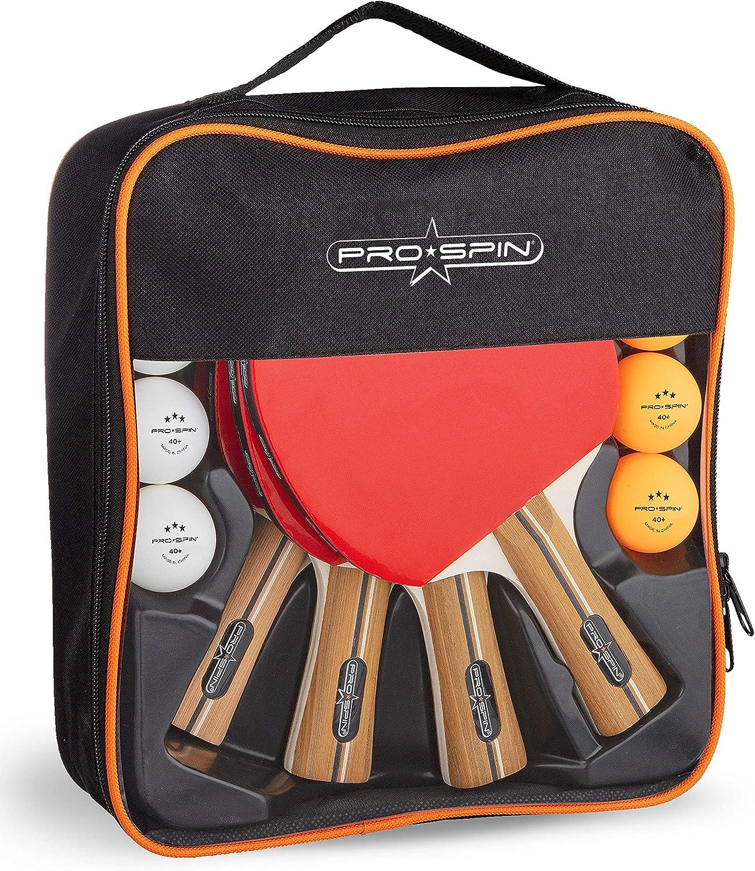 Juego de 2 o 4 palas de ping pong, juego de ping pong de alto rendimiento con palas de tenis de mesa premium, pelotas de ping pong, pelotas de ping pong, caja de almacenamiento compacta
