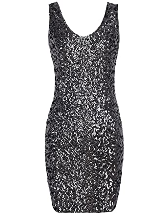 ee6b45e90ff8 PrettyGuide Women Sexy Deep V Neck Sequin Glitter Bodycon Stretchy Mini  Party Dress (Black)