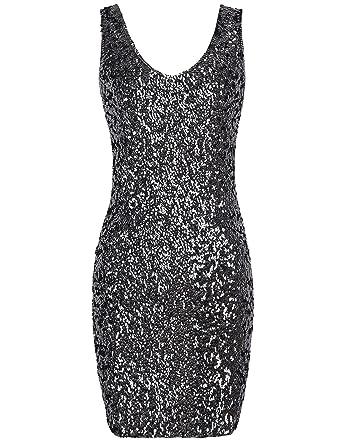 9e40a620 PrettyGuide Women Sexy Deep V Neck Sequin Glitter Bodycon Stretchy Mini  Party Dress: Amazon.co.uk: Clothing