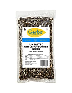 GERBS Roasted Whole Sunflower Seeds, 16 ounce Bag, Unsalted, Top 14 Food Allergen Free, Non GMO, Vegan, Keto, Paleo Friendly