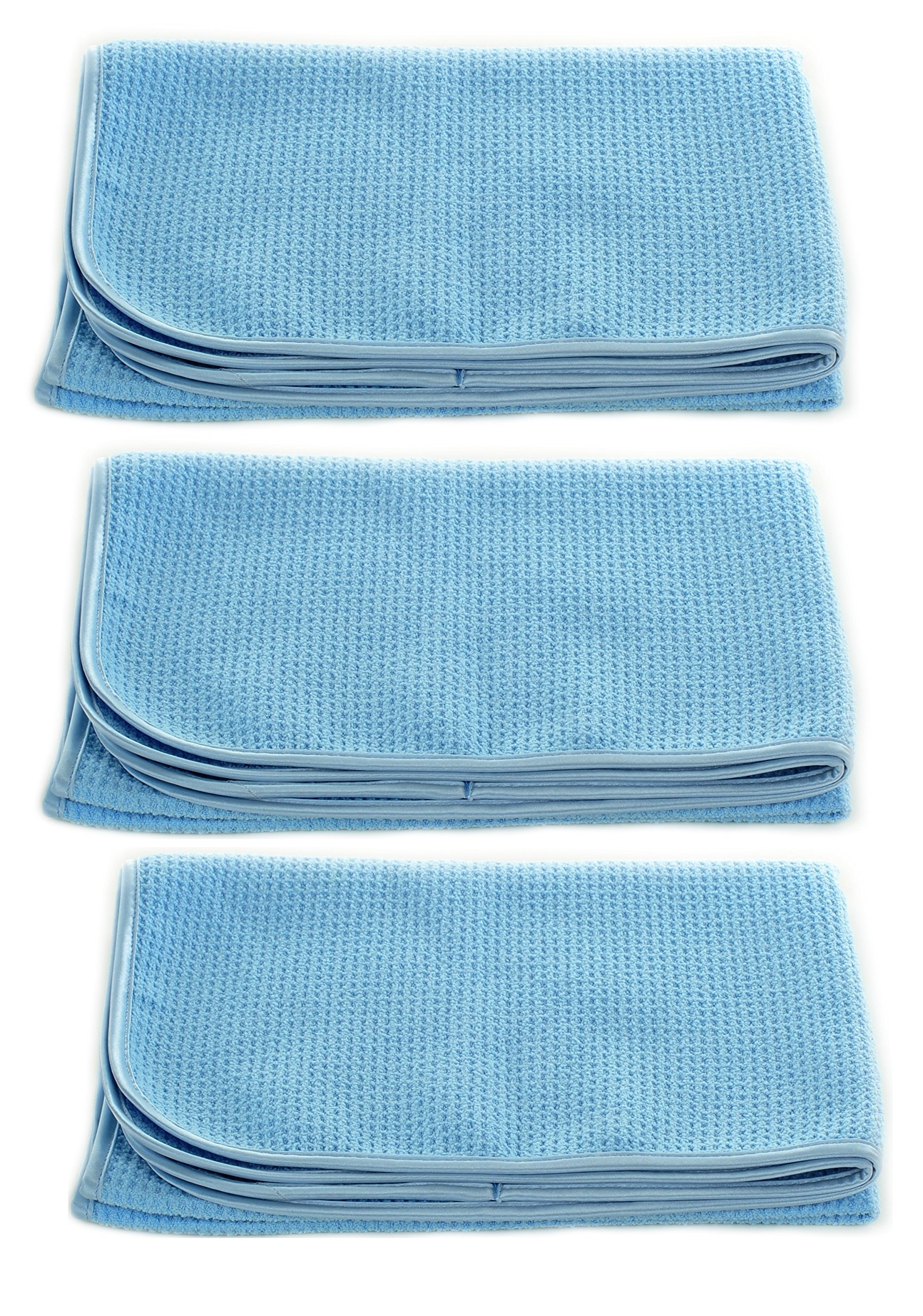 Real Clean Professional Grade Premium Ultra-Microfiber Extra Thirsty Big Blue Automotive Drying Towel 25''x 36'' Chemical and Water Safe Material (3 Pack)
