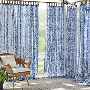 Elrene Home Fashions Verena Floral Sheer Indoor/Outdoor Adhesive Loop Fastener Tab Top Window Curtain Panel for Patio, Pergola, Porch, Deck, Lanai, and Cabana, 52