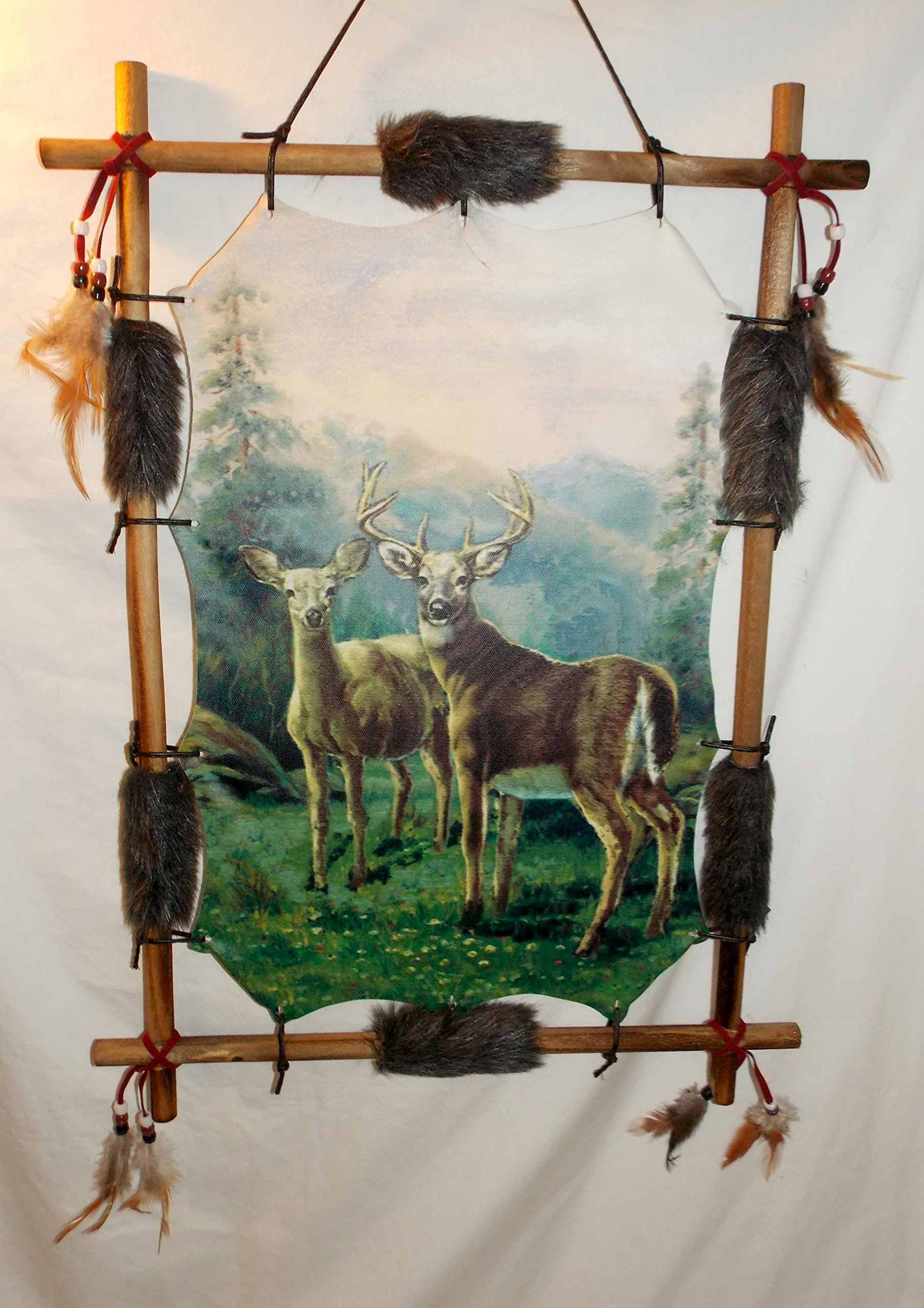 New Doe & Buck Deer in a Picturesque Mountain Background Wood Frame Dream Catcher 22'' x 16''