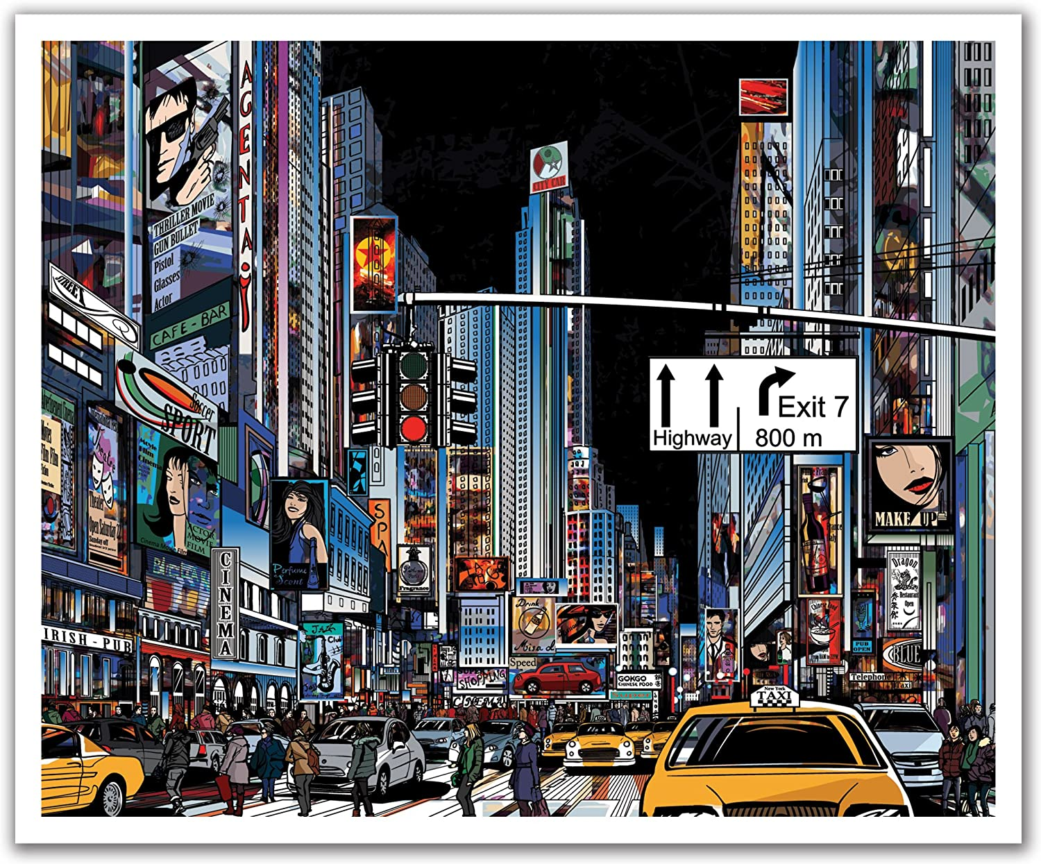 JP London POSLT2259 uStrip Lite Removable Wallpaper Decal Mural New York City Street Painted Never Sleeps 24-Inch x 19.75-Inch